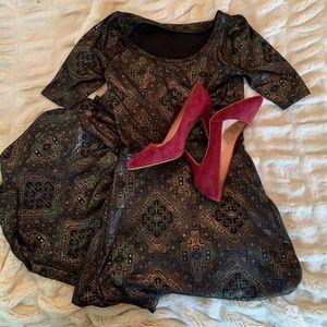 LulaRoe Black and Shiny Gold Maxi Ana Dress Size S